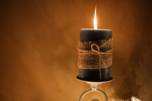 flame on a black candle