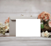 blank white envelope and card