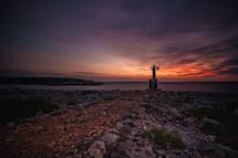 a light beacon on a shore