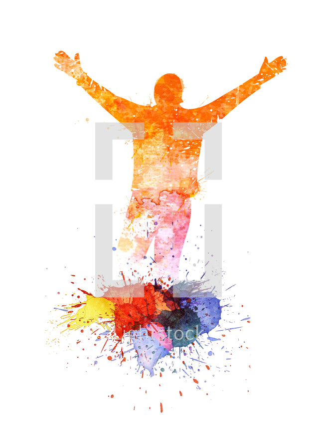 Watercolor painting of a man raising his hands in worship and praise