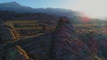sunbeams on a rocky mountain landscape