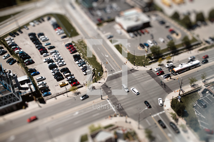 miniature aerial view above an intersection