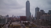 Timelapse of cloud movement and traffic through downtown Dallas.