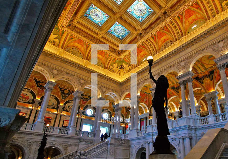 The inside of the Library of Congress in Washington DC