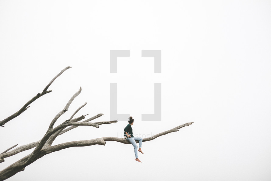 A woman sitting on a bare tree branch.