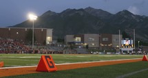 football field and mountains
