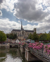 View of Notre Dame Cathedral in Amiens, France from the River Somme