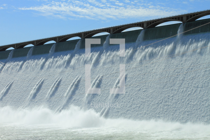 water over a hydroelectric dam