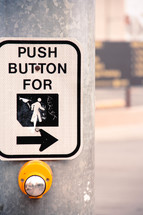 """Push to Walk"" street sign on a metal pole."