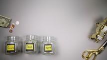 dividing money between jars