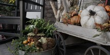 fall decorations on a porch