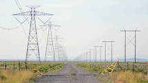power lines and power poles coming into focus