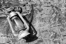 vintage lantern on a rock