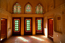 stained glass windows in a mosque in Iran