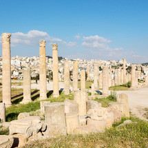 columns at an archeological site in Jordan