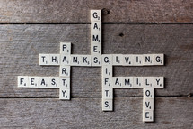 scrabbles pieces with words of Thanksgiving