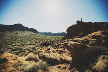 red rock formations in a desert