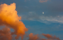 clouds in the sky and the moon