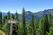 mountain summit sign