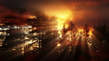 fiery sky at sunset