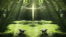 glowing cross of sunlight