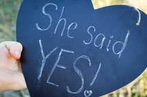 She Said Yes on Chalkboard