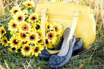 Shoes, Handbag and Flowers