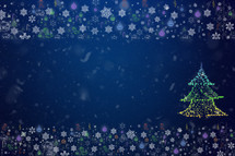 Holiday postcard. Xmas frame snowflakes decorations on a dark blue background. Ready Christmas background for your text