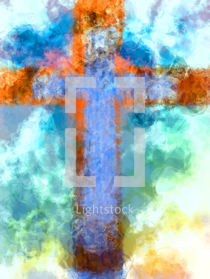 cross of small polygons bright colors