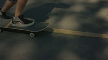 getting on a skateboard