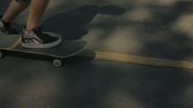 getting on a skateboard