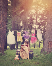 princess clothes on a clothesline