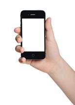 hand holding a blank cellphone screen