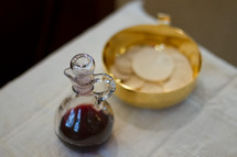 communion wafers and wine