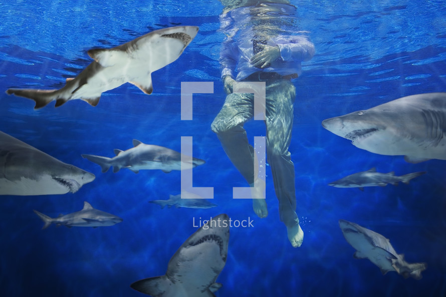 Businessman underwater, surrounded by circling sharks