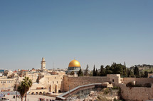 the wailing wall of Jerusalem near the temple mount and the dome of the rock