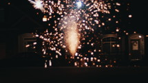 fireworks on the ground at night