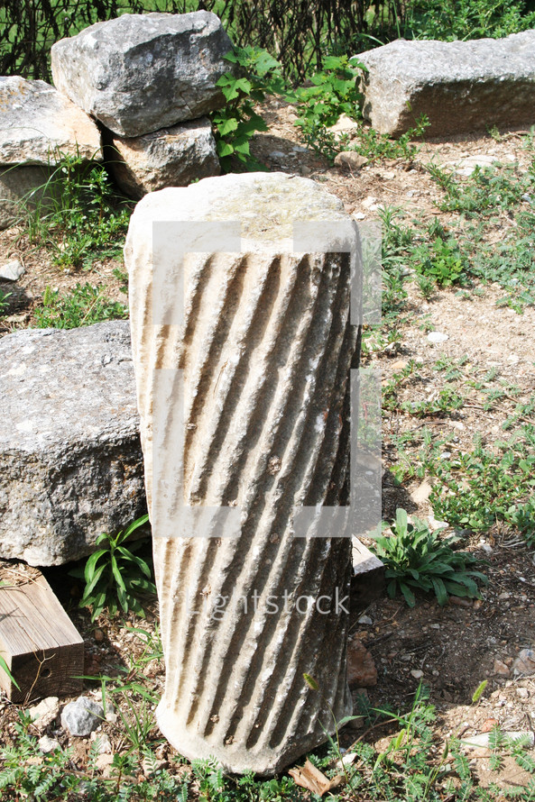 Fluted column sanctuary basilica. Remains from historic Philippi that would have been visited by the Apostle Paul, Silas, Lydia and early Christians from Acts 16. These remains are near the Agora of Philippi.