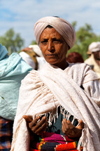 in lalibela ethiopia a woman in the celebration