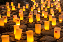 Lit candles on rocks at the Nara Candle Festival.