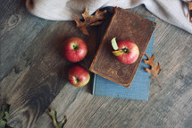 vintage books and apples