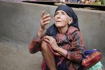 woman begging