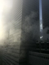 smoke and fog in a city
