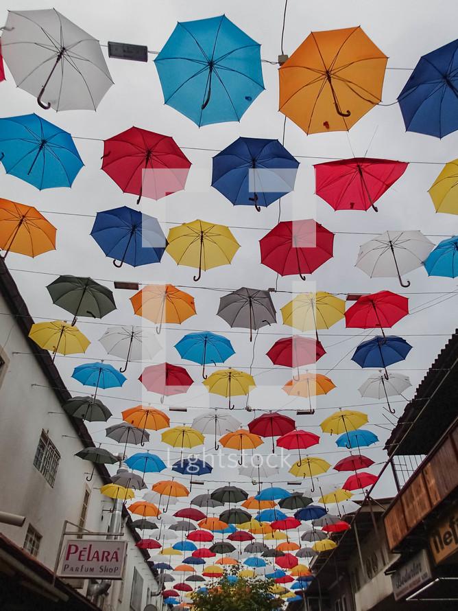umbrella decorations over a street in Turkey