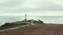 shoreline and lighthouse