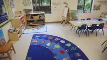 a preschool classroom and nursery