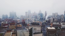 A fly through of Downtown Detroit on a cloudy day.