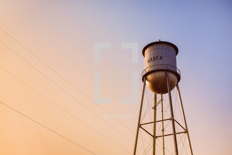 Water tower at dusk.