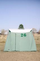 A refugee tent.