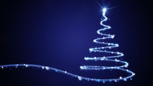 light beam forming a Christmas tree